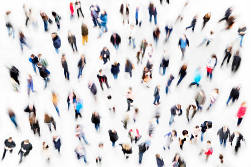 Pedestrian crowds photographed from directly above - hypnosis