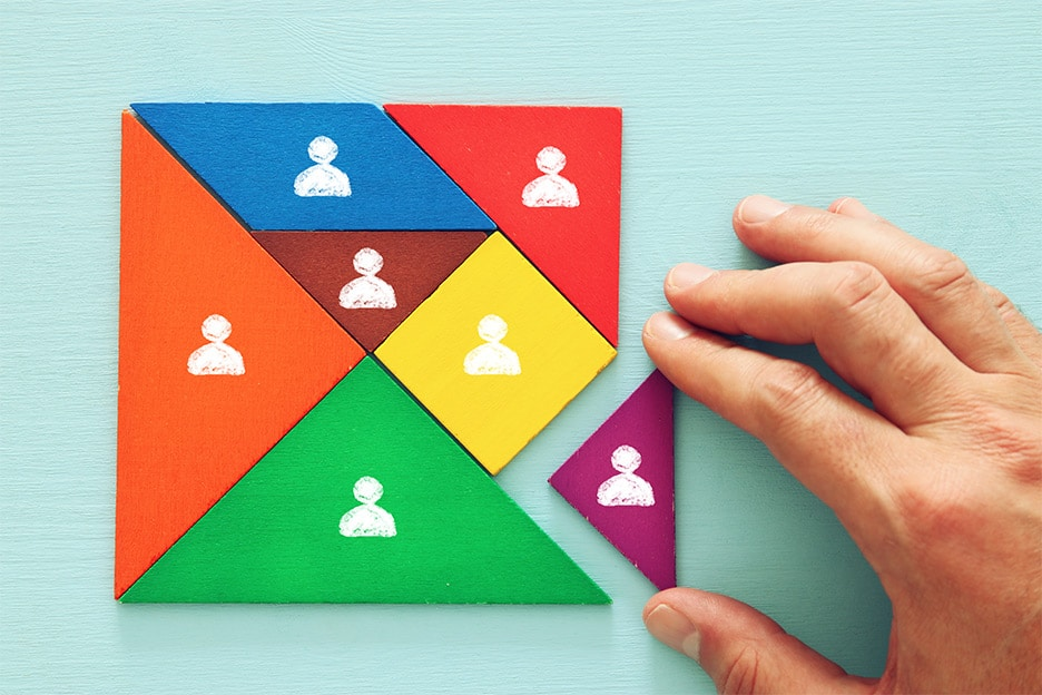 Colourful people puzzle symbolising relationships