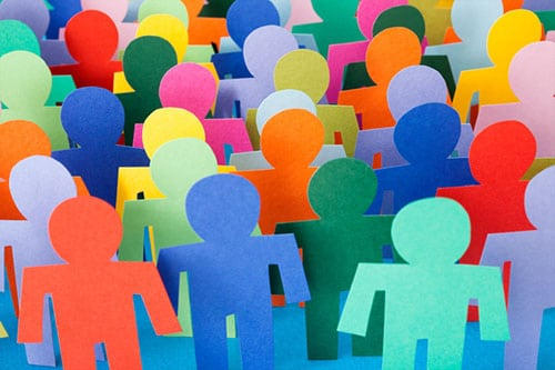 Ethics for caring professions online course - multi-coloured people cut outs